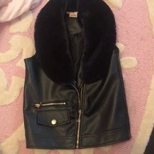 Little girls faux leather vest with fur collar